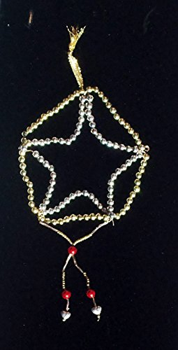 New Handmade Victorian Style Christmas Ornaments Non-breakable Beads on Wire Star, Gold Silver with Red Brass Beads & Metal Heart Accents