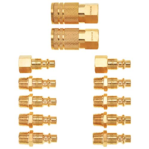 Air Coupler and Plug Kit, SUNGATOR Solid Brass Air Tool Fitting, Industrial 1/4″ NPT Air Compressor Accessories (12-Piece)