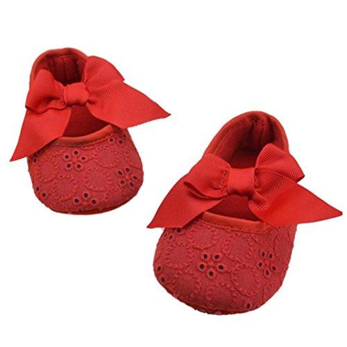 HUHU833 Kinder Mode Mädchen Schuhe Soft Sole Schuhe Kleinkind Schuhe Baumwoll band Bowknot Baby Schuhe Freizeitschuhe Rot