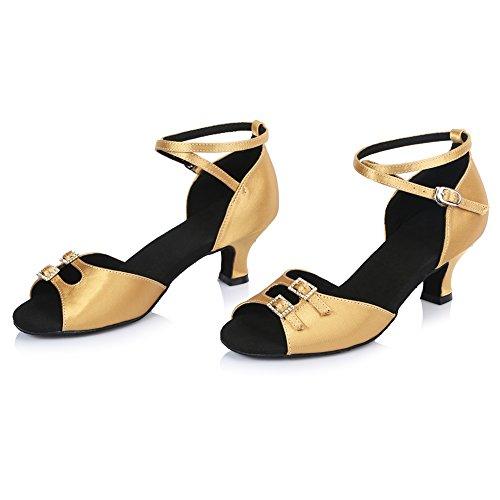 Roymall Donna Raso Scarpe Da Ballo Latino Ballroom Salsa Scarpe Da Tango Performance, Modello Af437 Oro