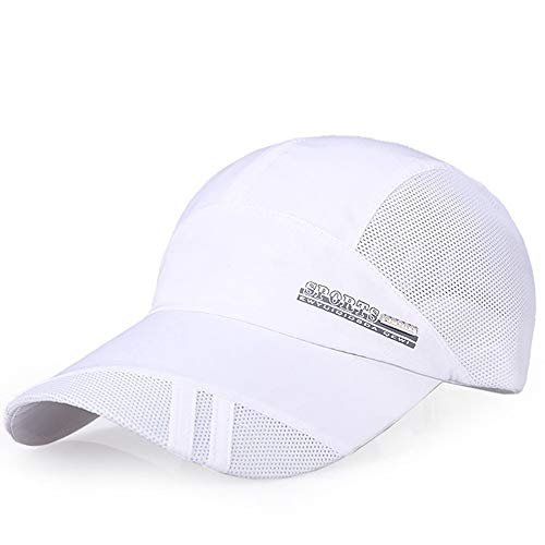 Unisex Classic Twill Mesh Hat Adjustable Baseball Hat Breathable Simplicity Hip Hop Hat White ()