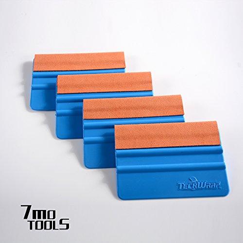 TECKWRAP Durable Felt Edge Squeegee 4 Inch for Car Squeegee Vinyl Decals Blue 4 pcs (with Orange Felt Edge) (Felt Squeegee)