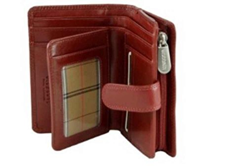Visconti Monza -11 Ladies Large Italian Brown Soft Leather Purse/Wallet (Red) - Wallet Leather Genuine Italian