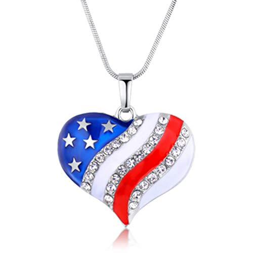 BinaryABC 4th of July Patriotic USA American Flag Necklace,Heart Pendant Necklace,Fourth of July Independence Day Party Favors Supplies