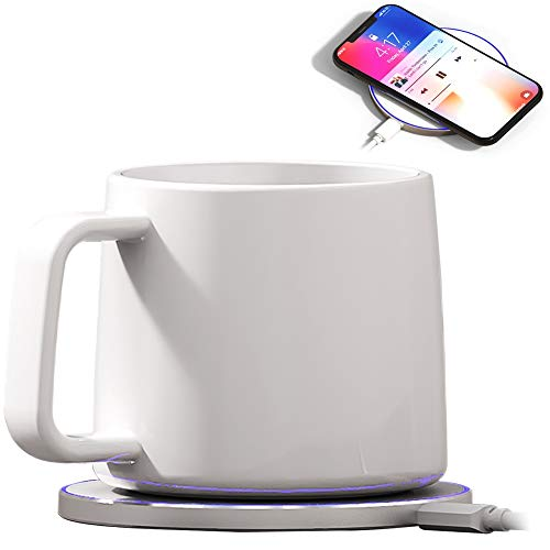Bone China Mug Warmer, Coffee Mug Warmer with Wireless Charger (2 in 1), Wireless Charging, Constant Temperature for Keeping Warm (about 122°F/50°C) (Tall Bone China Mug)