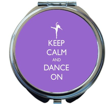 Rikki Knight Keep Calm and Dance On Violet Color Design Round Compact Mirror by Rikki Knight