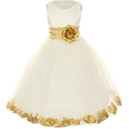 Big Girls Sleeveless Ivory Satin Bodice Layers Tulle Skirt Gold Flower Brooch and Petals Girl Dress - Size 8