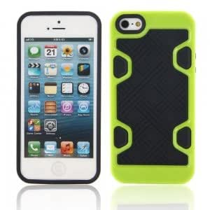 Check Pattern Hard Protection Frame Protective Case for iPhone 5/5S Black + Green