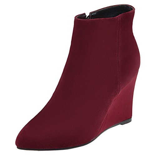 AIYOUMEI Women's Classic Boot Wine Red qU3EC
