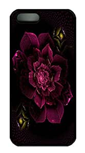 PC Back For HTC One M7 Phone Case Cover Black Plastic Skin Shell For HTC One M7 Phone Case Cover with Magenta Flower