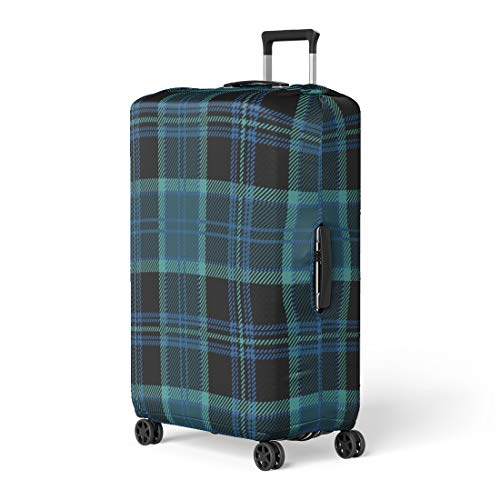 (Pinbeam Luggage Cover Black Tartan Plaid Blue Heritage Kilt Scotland Abstract Travel Suitcase Cover Protector Baggage Case Fits 26-28 inches)