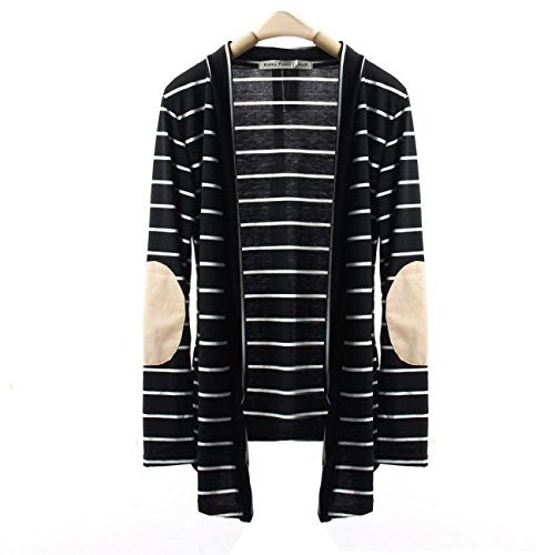PERFURM Women Coat Casual Long Sleeve Large Size Tops Striped Cardigans Cotton Patchwork Clearance Thin Outwear by PERFURM (Image #2)