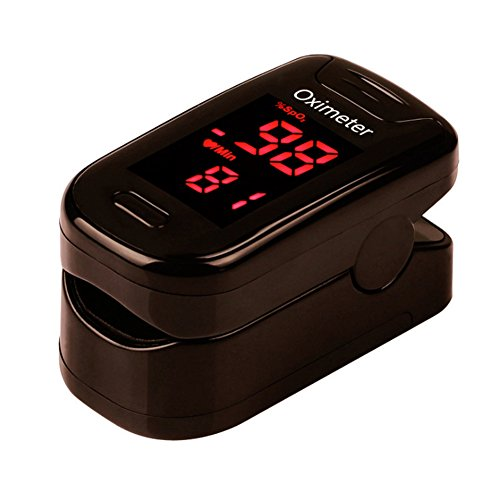 Fingertip Pulse Oximeter Oximetry Blood Oxygen Saturation Monitor Batteries and Lanyard (Black)