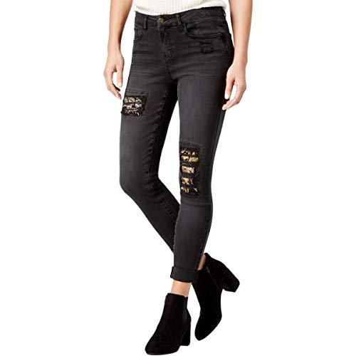(Vanilla Star Womens Juniors Let It Roll Denim Embroidered Skinny Jeans Black 3)