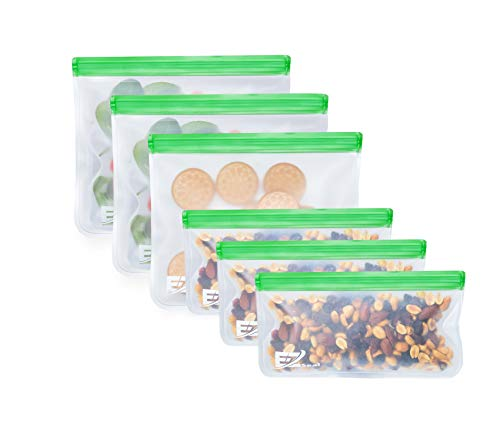 6 E-Z Seal EXTRA THICK Reusable Storage Bags - Zip Lock baggies ideal for Food snacks, Lunch sandwiches, Make-up, Travel Storage, Home organisation Eco friendly for reducing plastic (3 Lunch 3 snack)