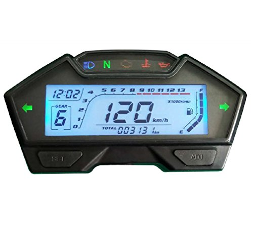 Motorcycle Display - Samdo Universal LCD Motorcycle Speedometer Odometer RPM Speed Fuel Gauge 199 Kph Mph