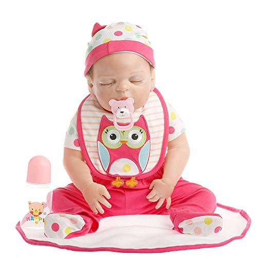 SanyDoll Reborn Baby Doll Soft Silicone Vinyl 22 inch 55 cm Lovely Lifelike Cute Baby Boy Girl Toy Peach red Suit Sleeping Doll (Dollars 55)