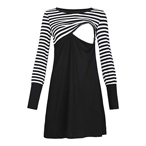 Women Striped Patchwork Nursing Midi Dress,Crytech Maternity Double Layer Round Neck Side Ruched Pregnancy Sleepwear Nightgown for Breastfeeding Convertible Hospital Delivery Gown (Small, Black)