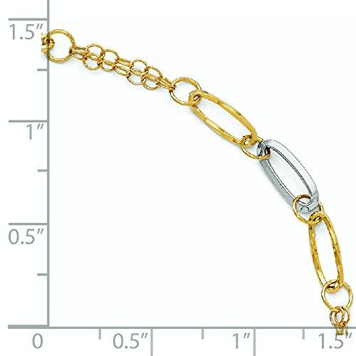 Or bicolore 14carats poli et texturé Bracelet-20cm