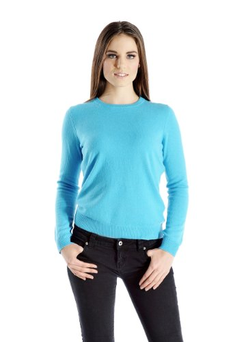 Women's Crew Neck Cashmere Sweater (Turquoise Blue, Medium)