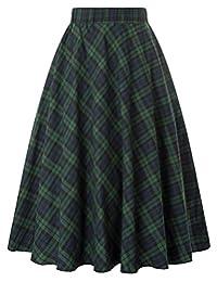 Kate Kasin Women's A-Line Vintage Skirt Grid Pattern Plaid KK633/ KK495