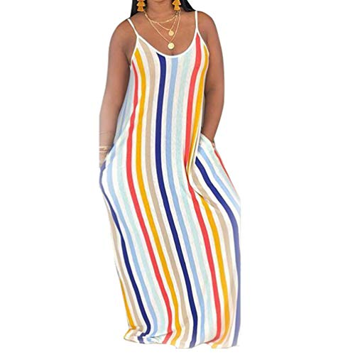 Womens Spaghetti Strap Dress Summer - Casual Loose Floral Beach Cover Up Plus Size Long Maxi Dresses with Pocket Rainbow Small