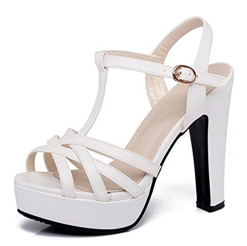 Sandali Con Zeppa Donna Aisun Con Cinturino Alla Caviglia - Elegante Tacco Altissimo Tacco Alto - Cinturino Robusto Con Fibbia T