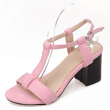 LvYuan Tacón Robusto-Zapatos del club-Sandalias-Oficina y Trabajo Vestido Informal-Terciopelo-Negro Rosa Gris gray