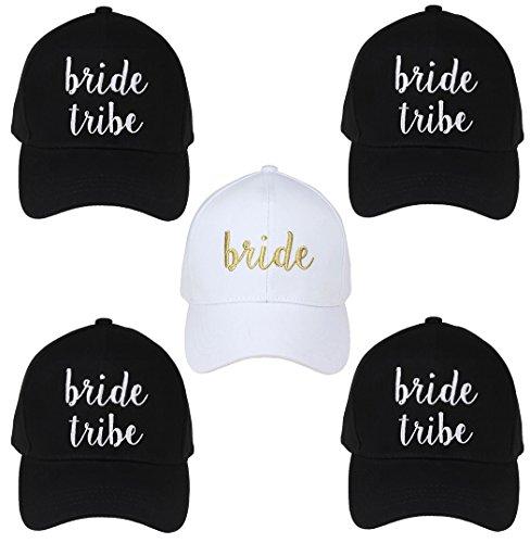 H-2018-5-BWG.4BT Bridal Baseball Cap Bundle - Bride (White/Gold) 4 Bride Tribe (Black)