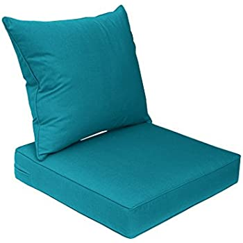 bossima sunbrella indoor outdoor spectrum peacock teal blue deep seat chair cushion. Black Bedroom Furniture Sets. Home Design Ideas