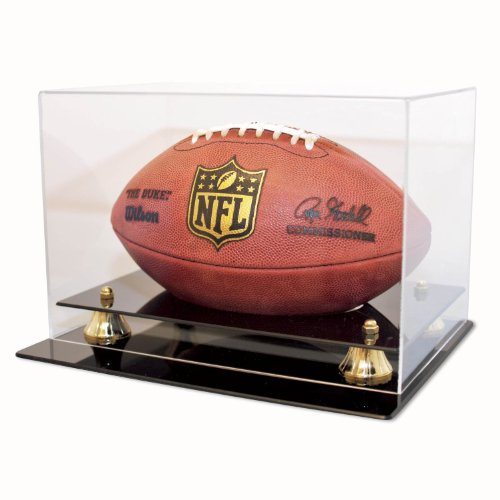 (Football Display Case Holder 98% UV Protection Acrylic cover ALL 4 sides visible)