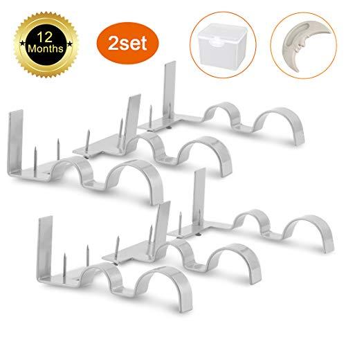 - Ruyisy Double Curtain Rod Holders Brackets, 2Set(6Pcs), Sliver, Adjustable Wall Bracket for Window Bedroom Shower Home Decoration