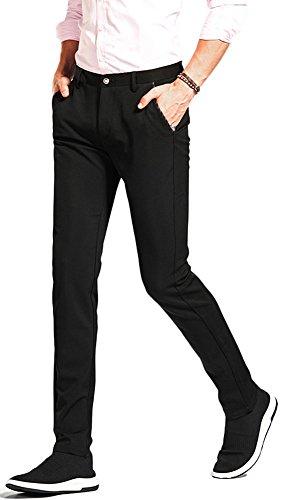 Plaid&Plain Men's Stretch Dress Pants Skinny Suit Pants Tapered Formal Pants 7868# Black 38