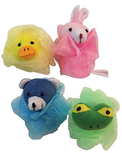 Stuffed Animal Toy Pouf Mesh Bath Shower Sponge Pink Bunny Yellow Duck