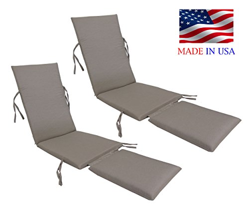 Made in USA Outdoor Sunbrella Canvas Taupe #5461 Steamer Chair Replacement Cushion Pad (2-PACK) (Replacement Chair Steamer Cushions)