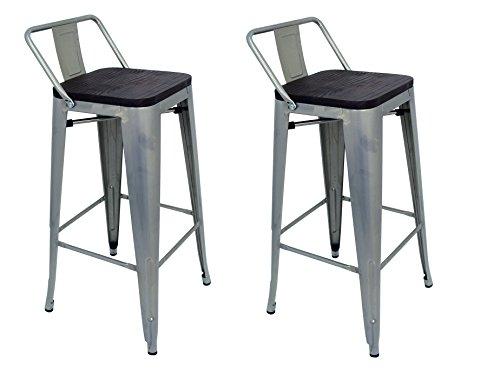 La Silla Espanola - Pack 2 Taburetes estilo Tolix con respaldo y asiento acabado en madera. Color Gris Industrial. Medidas 95x43x43