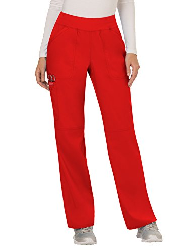 Cherokee Women's Mid Rise Straight Leg Pull-on Pant Tall, Red, X-Small Tall
