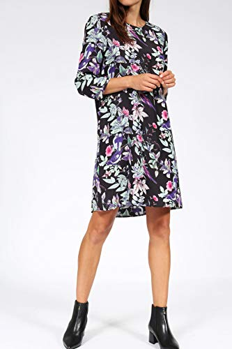 bloom mit Blätter Vogel aus Kleid Print Mehrfarbig Seide ztqw6znIxr
