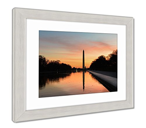 Ashley Framed Prints Washington D C Sunrise Lincoln Memorial Silhouettes Capitol, Wall Art Home Decoration, Color, 26x30 (Frame Size), Silver Frame, AG5513479