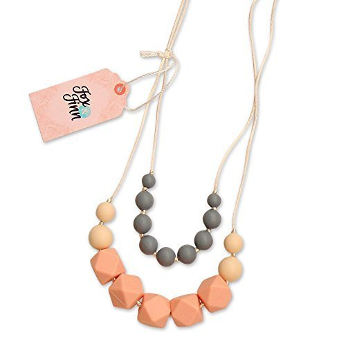 Rubber Necklace Round (Fox and Finn 'Isabella' Silicone Teething Necklace for Babies | Safety Knotted Silk Rope | Does Not Pull Hair Out | 14 Inch Drop (peach + smoke + latte))