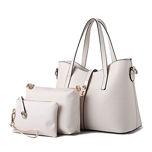 Hynbase Fashion Women Cross Body Handbag Set Of 3 Shoulder Bag White