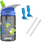 CamelBak Eddy Kids Water Bottle, Cozy Dinos, 0.4L with Bottle Accessory 2 Bite Valves/2 Straws