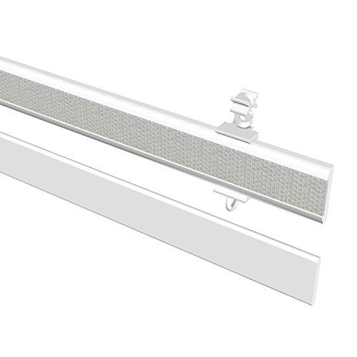 Flairdeco 16071001 0632 Paneelwagen mit Klettband und Beschwerung, 60 cm kürzbar, weiß aus aluminium