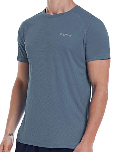 Dry Wick - Men's Dry Fit Mesh Athletic T Shirts Quick Dry Moisture Wicking Running Workout Shirts for Men,Grey,l