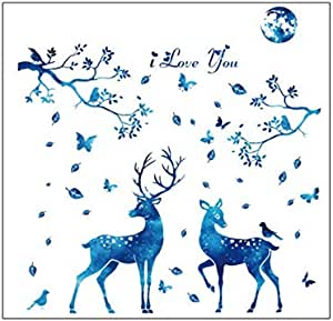 DIY Household Wall Decal Removable Stick Wall Blue Starlight Wall Bedroom Parlor Decorative Deer Wall Sticker Elk Head