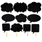 10pcs Photo Booth Props Signs, BizoeRade Mini Sized Photo Booth Signs, Blank Props with Chalk and Stickers, Perfect for Wedding Party, Birthday Party