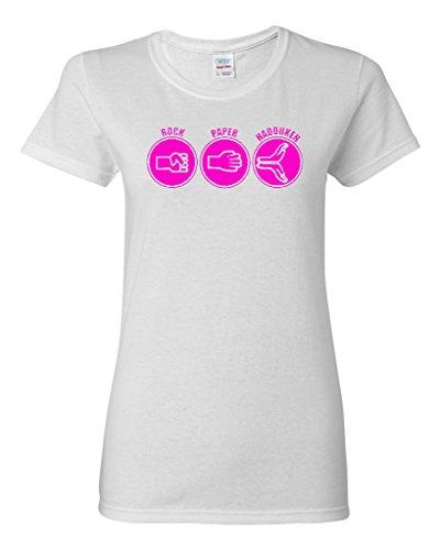Ladies Rock Paper Hadouken Game Funny Humor T-Shirt Tee (X-Large, White w/NeonPink)