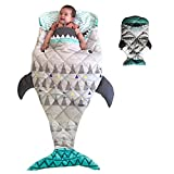 """PISSCO Kids 100% Cotton Astronaut Throw Blanket, Soft and Warm Sleeping bag for Toddler Boys and Girls, 59""""x27"""" (Shark)"""