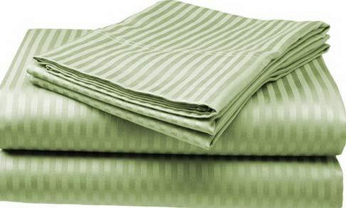Hebel Twin Size Sage 400 Thread Count 100% Cotton Sateen Dobby Stripe Sheet Set | Model SHTST - 103 ()