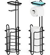 Toilet Paper Holder Stand, Veckle 2 Pack Free Standing Toilet Paper Roll Holder with Top Shelf Ph...